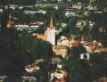 Skats uz Cēsu Sv. Jāņa baznīcu no putna lidojuma